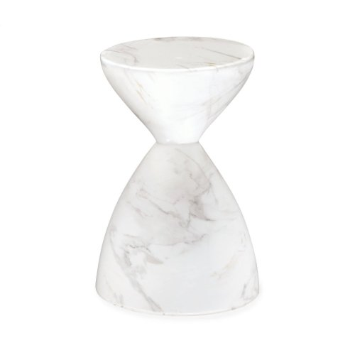 Round Faux White & Grey Marble Wine Table