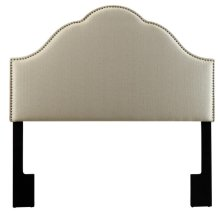 Glam Upholstered Headboard Tuxedo Oatmeal Queen