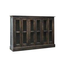 CC-CAB1743S-RW  Cottage Six Door Sideboard  Glass Front  Distressed Brown Raftwood