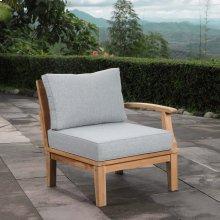 Marina Outdoor Patio Teak Right-Facing Sofa in Natural Gray