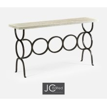 White Wash Driftwood Console with Circular Wrought Iron Base
