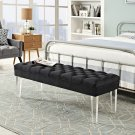 Valet Performance Velvet Bench in Black Product Image