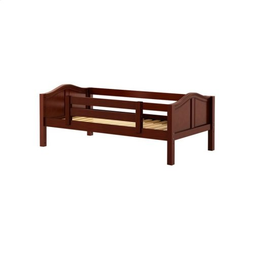 Daybed w/ Back and Front Safety Rails : Twin : Chestnut : Curved