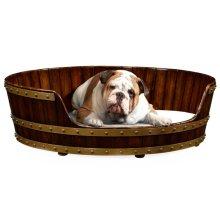 Large Walnut Wooden Dog Bed