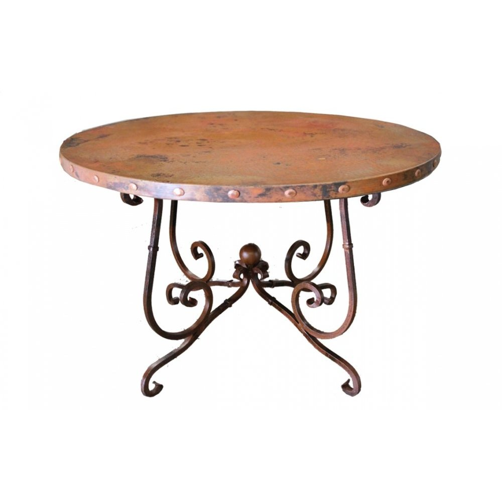 "Factory 4 60"" Natural Copper Top with Claves & Wrought Iron Base"