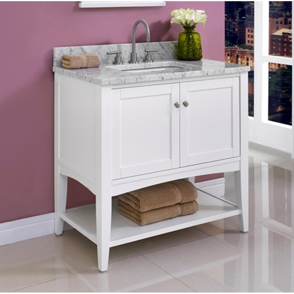 """Shaker Americana 36"""" Open Shelf Vanity - Polar White"""