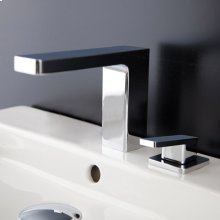 Deck mount two hole faucet with a square neck spout, lever handle, and a pop up drain