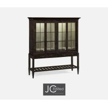 Dark Ale Glazed Display Double Cabinet
