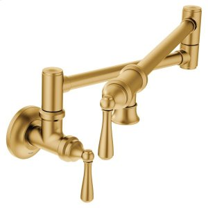 Traditional Pot Filler brushed gold two-handle kitchen faucet Product Image