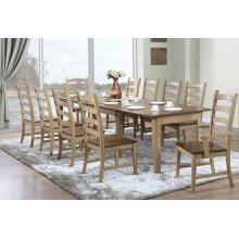 DLU-BR134-PW11PC  11 Piece Rectangular Extendable Dining Set  Arm Chairs