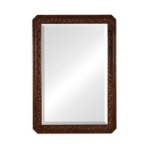 Dark Oak Rectangular Mirror with Carved Rosettes