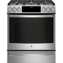 "GE Profile™ 30"" Dual Fuel Slide-In Front-Control Range"