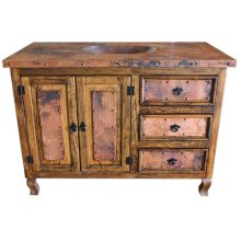 Copper Vanity with copper top and 2 sets of doors and 3 drawers