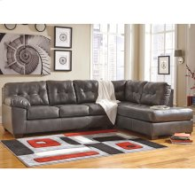 Signature Design by Ashley Alliston Sectional with Right Side Facing Chaise in Gray Faux Leather [FSD-2399RFSEC-GRY-GG]