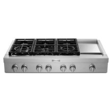 KitchenAid® 48'' 6-Burner Commercial-Style Gas Rangetop with Griddle - Stainless Steel