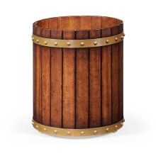 Round Walnut Peat Bucket Style Waste Basket