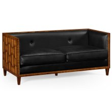 2.5 seater transitional sofa in black leather