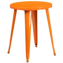 """Commercial Grade 24"""" Round Orange Metal Indoor-Outdoor Table"""