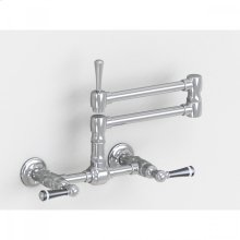 """Brushed Stainless - Wall Mount 17 3/4"""" Articulated Dual Swivel Spout with Black Ceramic Lever"""