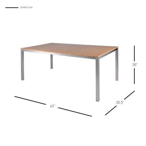 """Zevon Rect Dining Table 63"""" Brushed Stainless Steel Legs, Natural"""