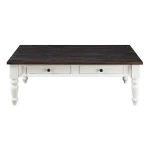 Emerald Home Mountain Retreat 2 Drawer Cocktail Table Antique White Base W/brown Rustic Plank Top T6013-09