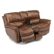 Dominique Leather Power Reclining Love Seat with Console