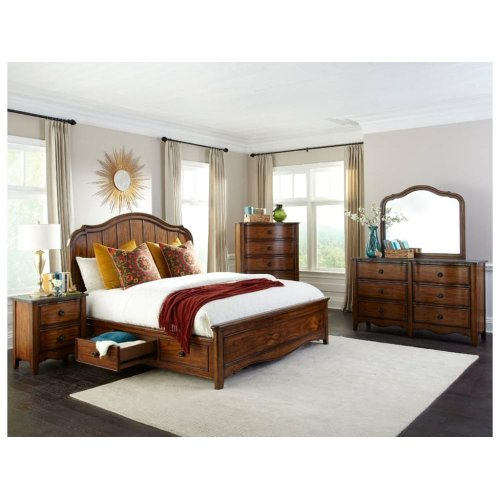 Luciano Queen Panel Bed with 6 Drawer Storage