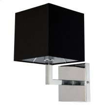1lt Incandescent Wall Sconce, PC W/black Shade