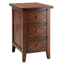 Evanston 3-Drawer Brown Chairside Table with Nailheads