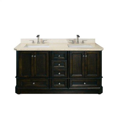 Ocean Grey RICHMOND 60-in Double-Basin Vanity Cabinet with Carrara Marble Stone Top and Karo 18x12 Sink