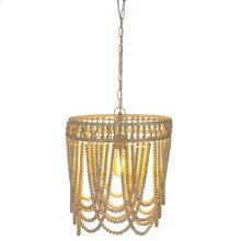 Oval Frame Whitewash Beaded Chandelier. 60W Max. Hard Wire Only.