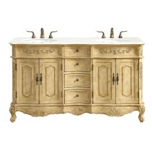 60 in. Double Bathroom Vanity set in Antique Beige
