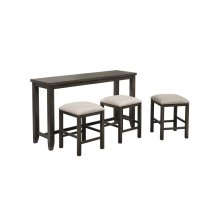 DLU-EL6518-4PC  4 Piece Small Pub Table Set  Sofa Console with Stools