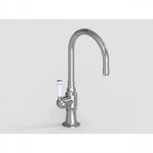 """Brushed Stainless - 7"""" Deck Mount Single Hole Swivel Bar Faucet Spout with Left White Ceramic Traditional Lever Product Image"""
