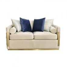 Divani Casa Tenaya Modern Beige Fabric & Gold Loveseat Sofa