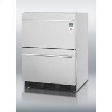 ADA Compliant Commercially Approved Two-drawer Refrigerator In Stainless Steel for Built-in Use, With Temperature Alarm, Hospital Grade Cord, and Internal Fan