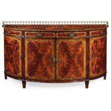 Large mahogany demilune sideboard