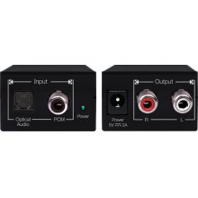 Converts Digital Coaxial or Toslink Audio to Analog (L/R) Audio