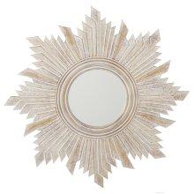 Carved Whitewash Angled Starburst Wall Mirror