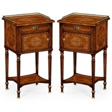 Pair of Burl & Mother of Pearl Bedside Cabinets with Undertier