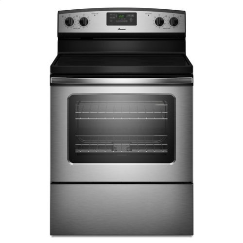 Amana® 30-inch Amana® Electric Range with Easy Touch Electronic Controls - Stainless Steel (This is a Stock Photo, actual unit (s) appearance may contain cosmetic blemishes. Please call store if you would like actual pictures). This unit carries our 6 month warranty, MANUFACTURER WARRANTY and REBATE NOT VALID with this item. ISI 33270