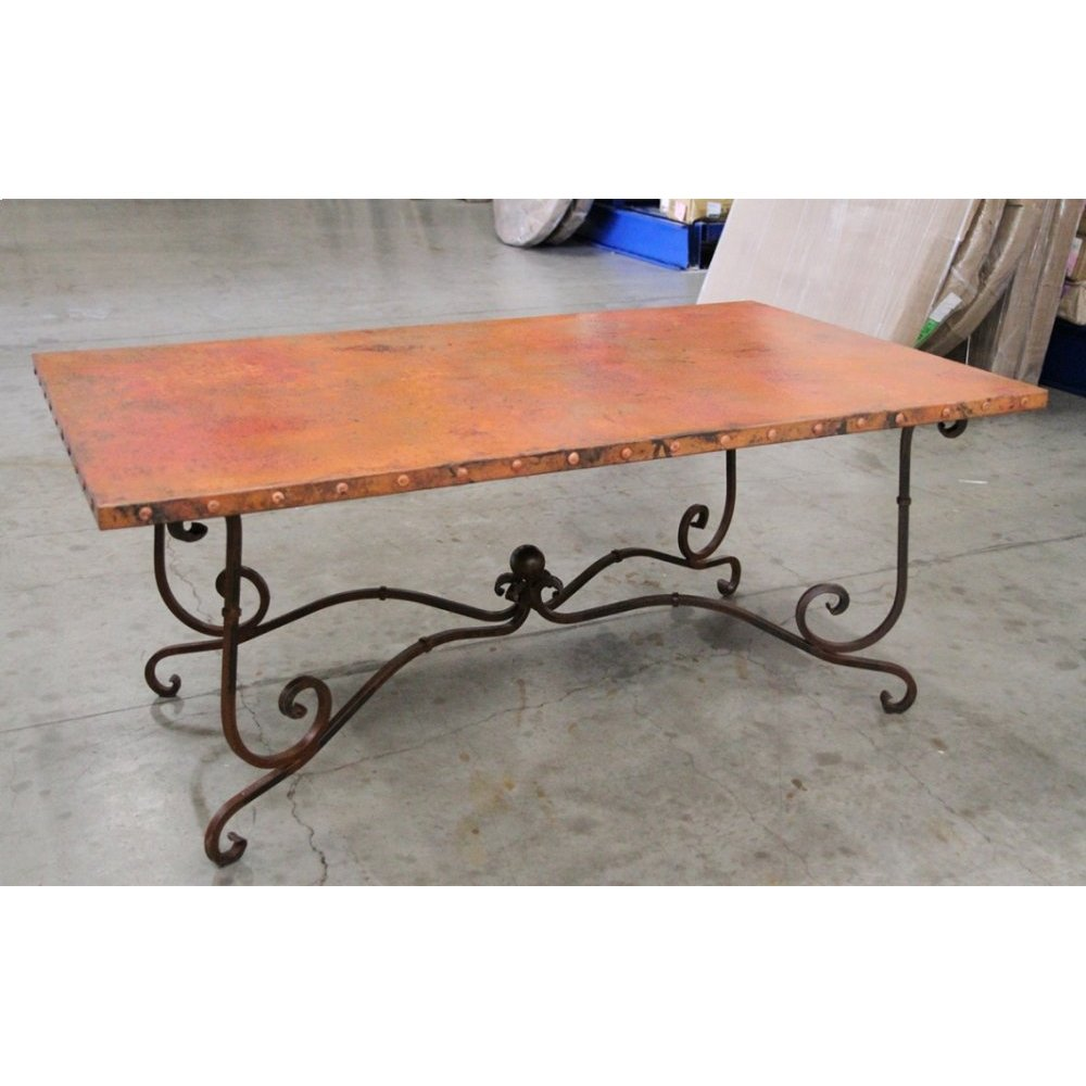 "Factory 4 42x72"" Natural Copper Top with Claves & Wrought Iron Base"