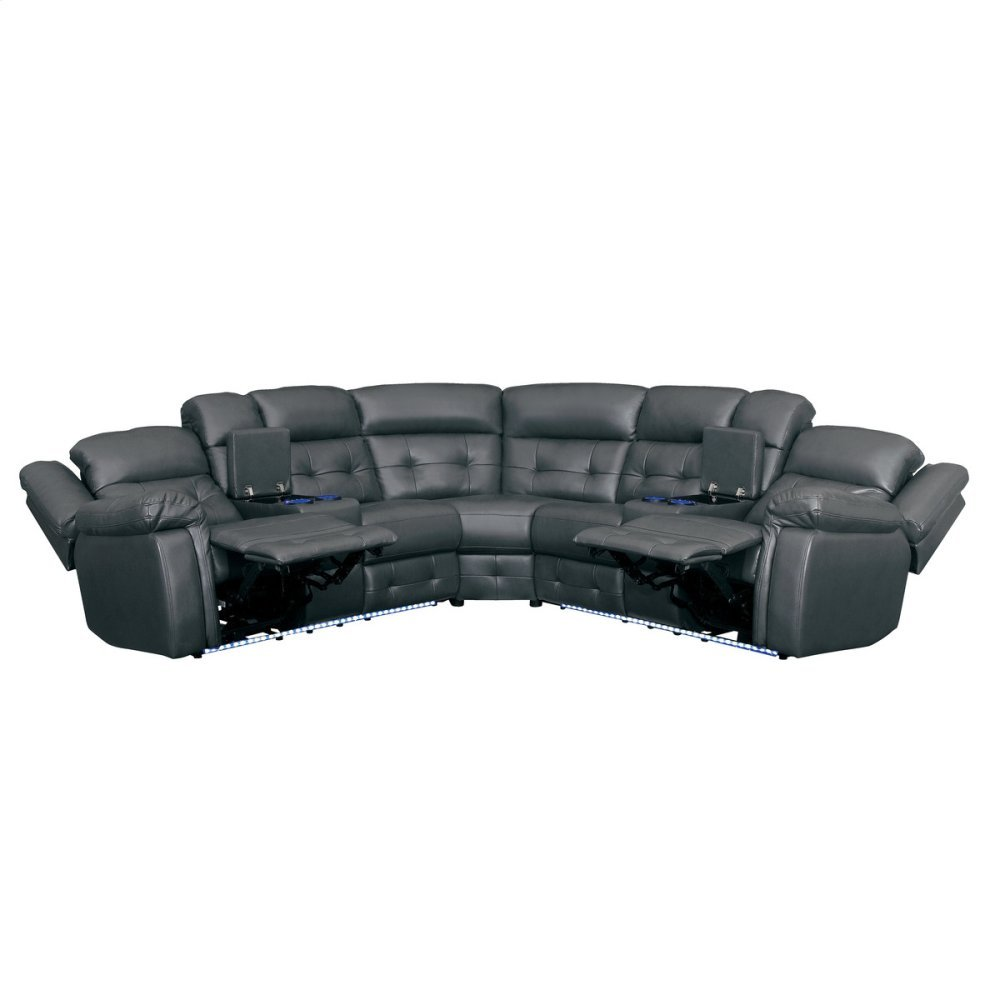 3-Piece Power Reclining Sectional with Power Headrests and LED