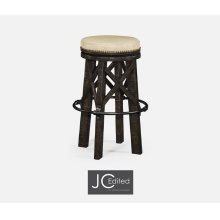Country Style Dark Ale & Iron Bar Stool, Upholstered in MAZO