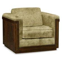 40'' Antique Mahogany Brown High Lustre Sofa Chair, Upholstered in Lime Velvet