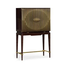 Ebony & Ribbed Antique Satin Brass Drinks Cabinet