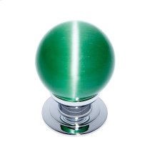 Polished Chrome 30 mm Green Cat's Eye Knob