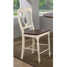 DLU-ADW-B50-AW-2  Andrews Napoleon Barstool  Antique White and Chestnut  Set of 2