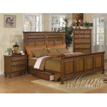 Oak Finish Queen Size (STORAGE ) Bedroom Set