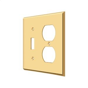 Switch Plate, Single Switch/Double Outlet - PVD Polished Brass Product Image